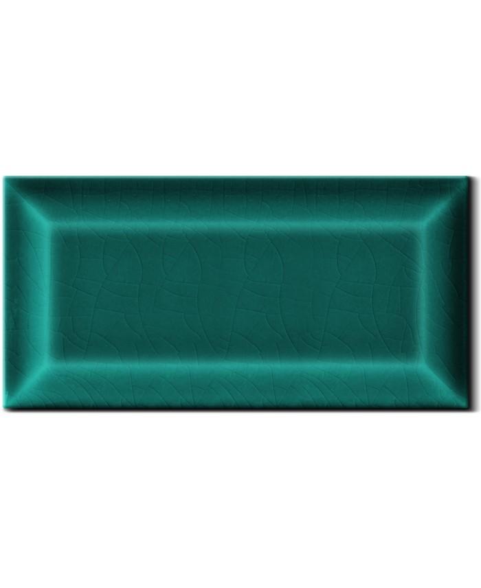 Carrelage métro D craquelé vert turquoise 7.5x15cm