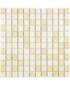 Emaux de verre mélange de ivoire et beige piscine mosaique salle de bain combi-5 2.5x2.5cm sur trame.