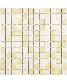 Emaux de verre antidérapant beige et ivoire piscine mosaique salle de bain combi-5 2.5x2.5cm sur trame.