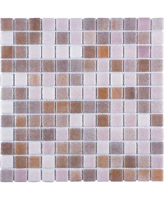 Emaux de verre antiderapant mélange de couleurs piscine mosaique salle de bain moscombi-7 2.5x2.5cm sur trame.