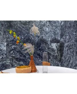 Carrelage imitation ciment liquide, marbre bleu moderne poli brillant 90x90cm rectifié, I santaliquid star