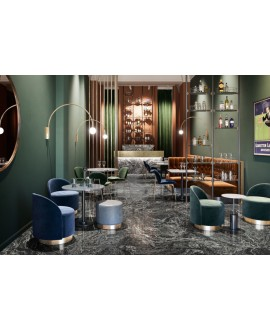 Carrelage imitation ciment liquide, marbre noir moderne poli brillant 90x90cm rectifié, restaurant I santaliquid moon