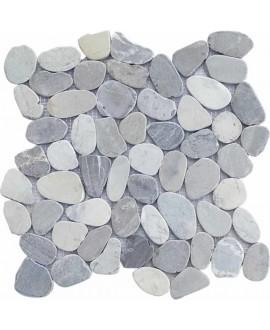 Galet scié plat gris sur trame 30x30cm, M batu, pour la salle de bains