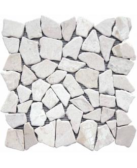 Galet plat marbre blanc sur trame 30x30cm, MO noa blanca, pour la salle de bains