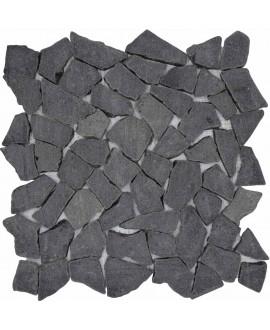 Galet plat marbre noir sur trame 30x30cm, MO noa noir, pour la salle de bains