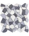 Galet plat marbre blanc gris et noir sur trame 30x30cm, MO noa gris, pour la salle de bains