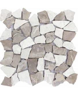 Galet plat marbre blanc et marron sur trame 30x30cm, MO noa mix, pour la salle de bains
