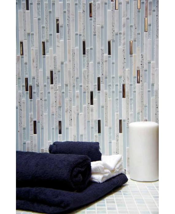 mosaique pierre métal verre salle de bain, douche, crédence salle debain molluvia blanca 30x30 cm