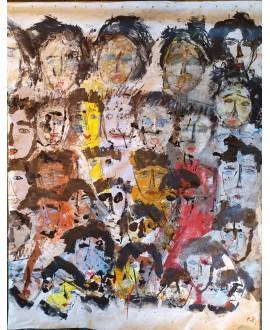 Tableau moderne, peinture contemporaine figurative, acrylique sur toile 195x152cm: foule5.