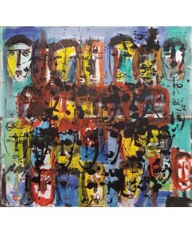 Tableau moderne, peinture contemporaine figurative, acrylique sur toile sur panneaux 120x120cm: foule9.