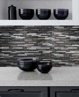 mosaiquecrédence de cuisine, salle de bain pierre métal verre molluvia noir 30x30 cm