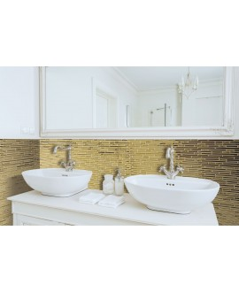 Mosaique salle de bain, crédence de cuisine pierre métal molluvia or 30x30 cm