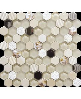 mosaique hexagone de verre et pierre beige 30,2x30,5 cm