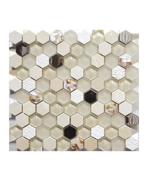 Mosaique salle de bain, crédence de cuisine hexagone de verre et pierre beige 30,2x30,5cm mohexagono