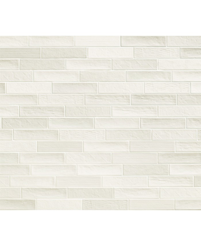 Carrelage moderne mural blanc mat rectangulaire natuchic 6.4x26cm cotton
