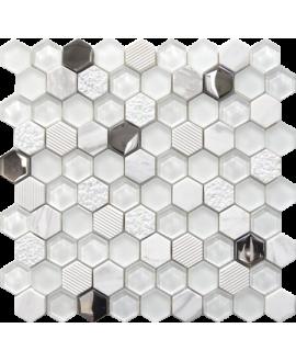 mosaique crédence de cuisine, salle de bain hexagone de verre et pierre blanc 30,2x30,5cm mohexagono