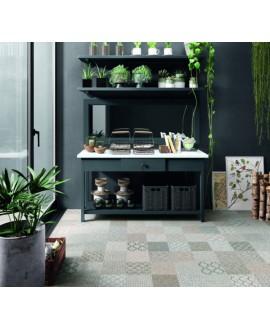 Carrelage sol cuisine patchwork décor imitation tissu 20x20 cm rectifié