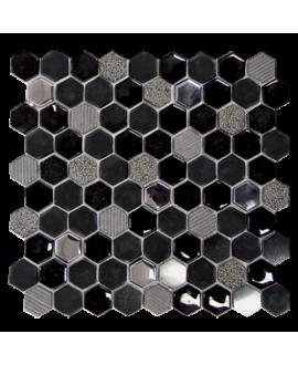 mosaique hexagone de verre et pierre noir 30,2x30,5 cm