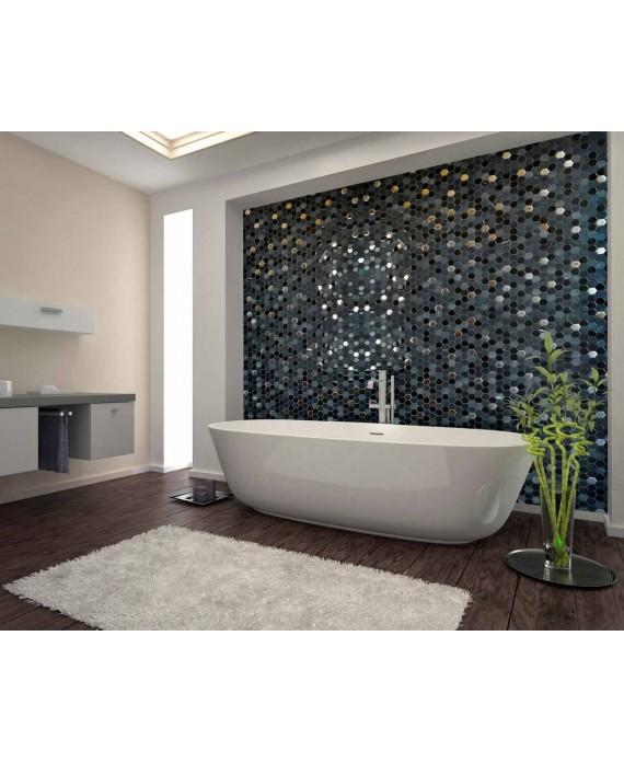 Mosaique hexagone de verre et pierre noir 30,2x30,5 cm mohexagono