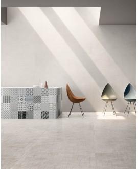Carrelage imitation tissu, tapis, blanc, rectifié, santasetdress blanc.