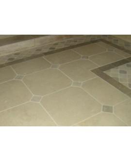 pierre du limeyrat 50x50cm beige clair à cabochon 10x10cm chocolat finition brossée