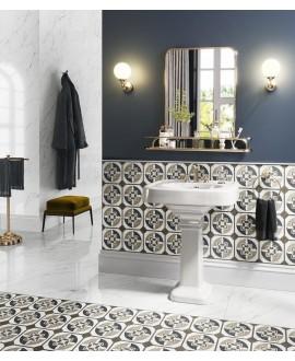 Carrelage sol et mur, effet bois et marbre incrusté, sol et mur, 20x20cm rectifié, santintarsi glam 01, R10
