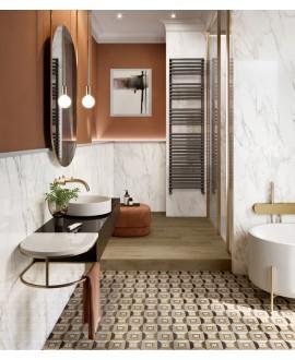 Carrelage effet dalle de bois et marbre incrusté, sol et mur, effet D, 20x20cm rectifié, santintarsi elite 04, R10