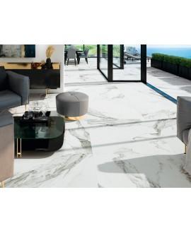 Carrelage imitation marbre blanc veiné de noir mat, salon, XXL 100x100cm rectifié, Porce1808 Bruselas