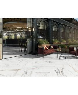 Carrelage imitation marbre blanc veiné de noir et d'or antidérapant, XXL 100x100cm rectifié, Porce1942 firenze, R11 A+B+C