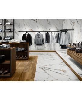 Carrelage imitation marbre blanc veiné de noir et d'or mat, XXL 100x100cm rectifié, Porce1842 Firenze