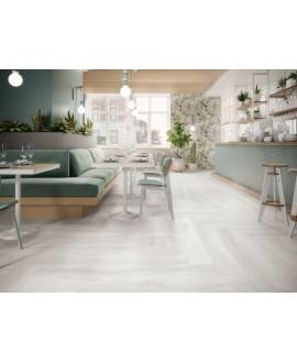 Carrelage imitation parquet blanc mat, restaurant, 21x147.5cm rectifié, Porce6623 balmoral nordica