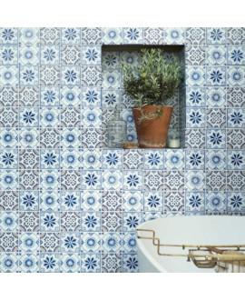 Carrelage peint à la main décor mexicain bleu et blanc D aviva 10x10x0.8cm