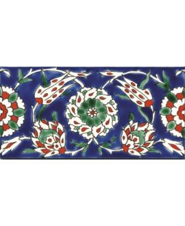 Frise brillante décorée 10x20x0.8cm peinte à la main, D izmir