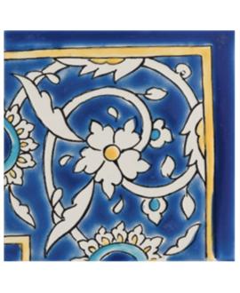 Angle brillant de couleur bleu 10x10x0.8cm peint à la main, D baghdad angle