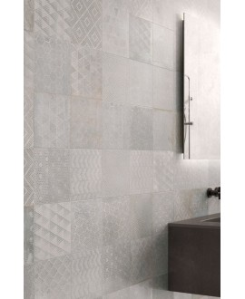 Carrelage patchwork ,décor salle de bain, imitation métal clair, 20x20cm, R10, santoxydart light
