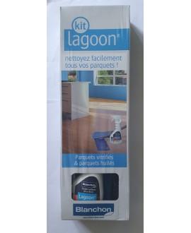 Nettoyant parquet lagoon spray 0.5L+balai microfibre+pad microfibre lavable, KIT blanchon