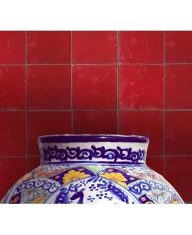 carrelage en terre cuite zellige rouge 10x10x1,1cm