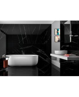 Carrelage imitation marbre poli brillant noir rectifié, 60x120cm Géonit noir.