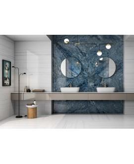 Carrelage imitation marbre poli brillant bleu rectifié, 60x120cm Géobahia.