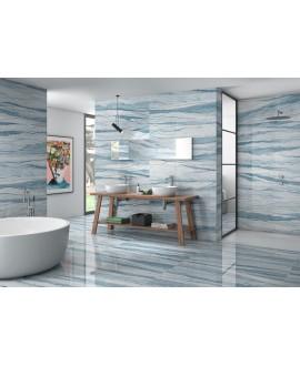 Carrelage imitation marbre poli brillant bleu rectifié, 60x120cm Géomacauba.