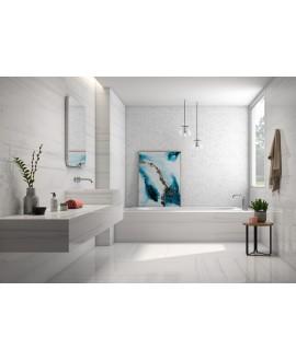 Carrelage imitation marbre poli brillant blanc veiné rectifié, Géoravena
