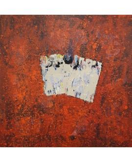 Peinture contemporaine, tableau moderne abstrait, acrylique sur toile 100x100cm intitulée: portrait.