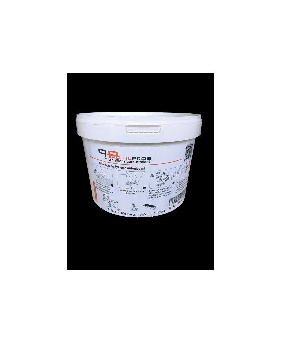 Kit croisillon pour carrelage épaisseur entre 3 et 12 mm auto-nivelant base 100 pièces +100 cales+1 pince, base 1mm.