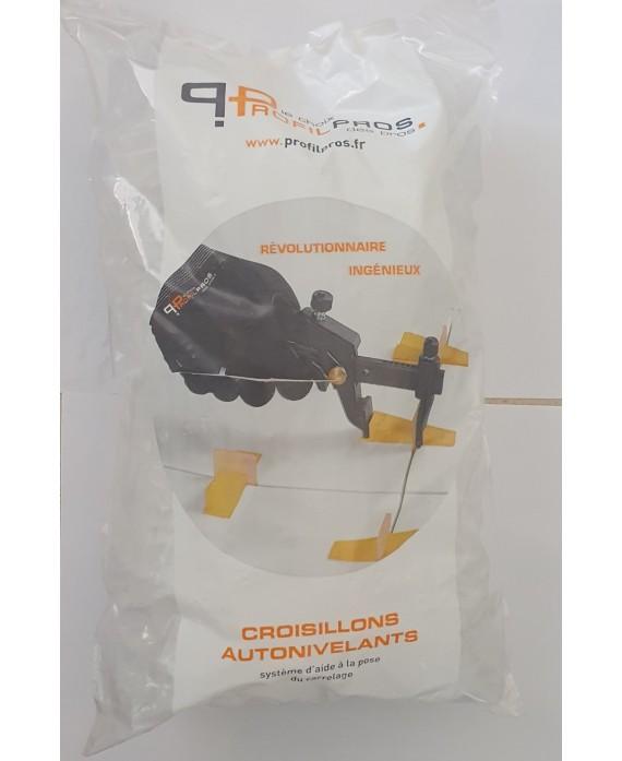 Croisillons auto-nivelant pour carrelage épaisseur entre 3 et 12mm, sac de 500 bases pour des ...
