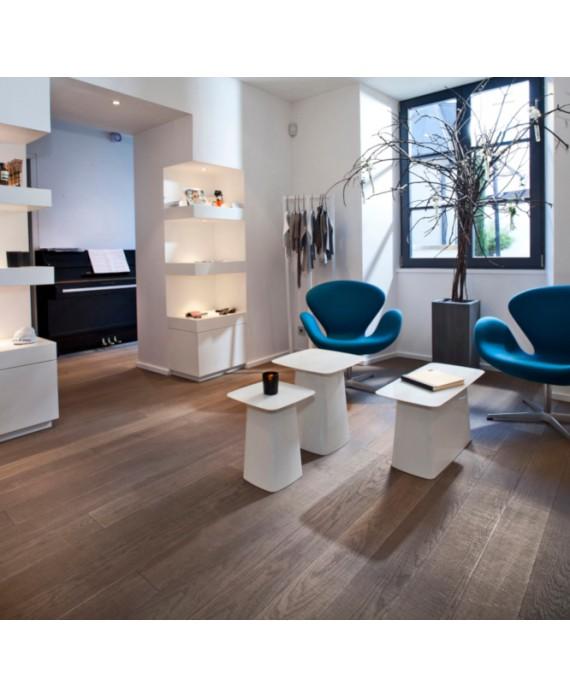 Parquet massif en chêne gris clair scié misty gris, plancher bois grande longueur ép : 21mm, largeur 190 mm