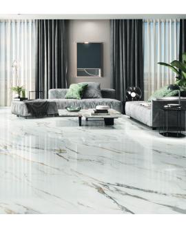 Carrelage imitation marbre blanc veiné de noir et d'or poli brillant, XXL 98x98cm rectifié,  Porce1840 Firenze
