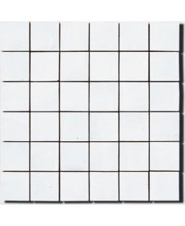 Mosaique zellige 5x5cm blanc neige sur trame 30x30cm