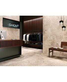 Carrelage imitation pierre beige mat, magasin, XXL 100x100cm rectifié, Porce1816 caramel