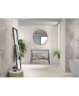 Carrelage imitation pierre blanc mat, salle de bain, XXL 100x100cm rectifié, Porce1816 baltimore white