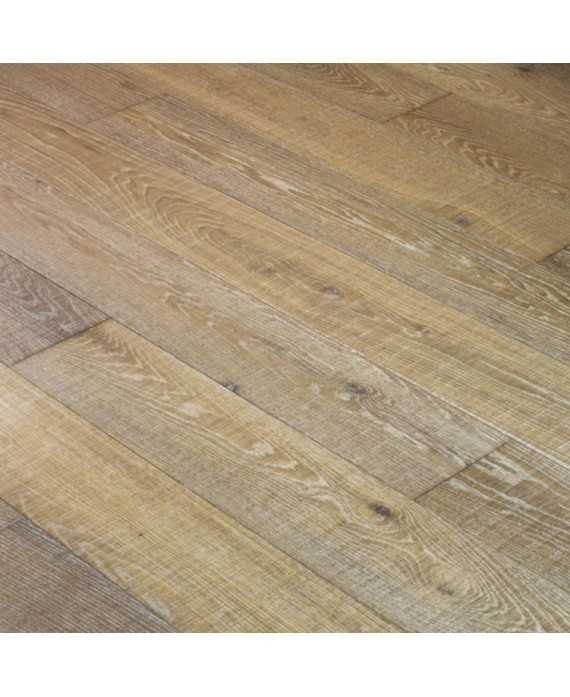 Plancher chêne massif clair huilé grande largeur parquet français scié poussière d'argile, épaisseur 21mm, largeur 190 mm
